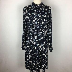 Ann Taylor Navy Floral Shirt Dress size Medium